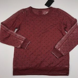 Chaser Red Burnout Polka Dot Pullover Sweatshirt